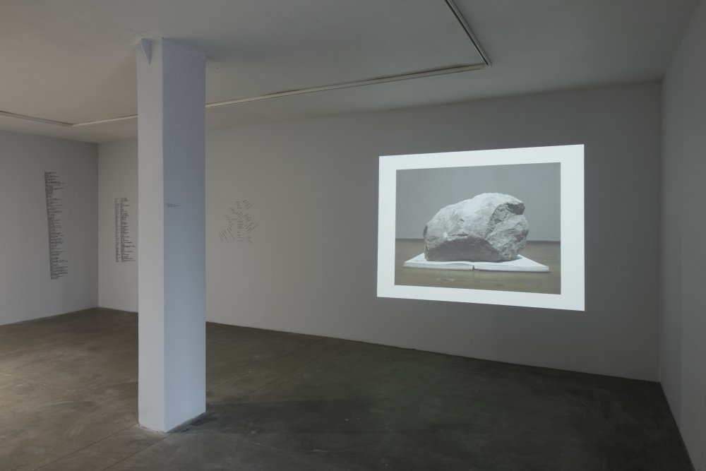 <i>An Archive of Stones, to be periodically activated, speculated upon, damaged and finally gilded with fiction</i> (2015) Photo by Ansis Starks. Exhibition view. Courtesy kim ?.