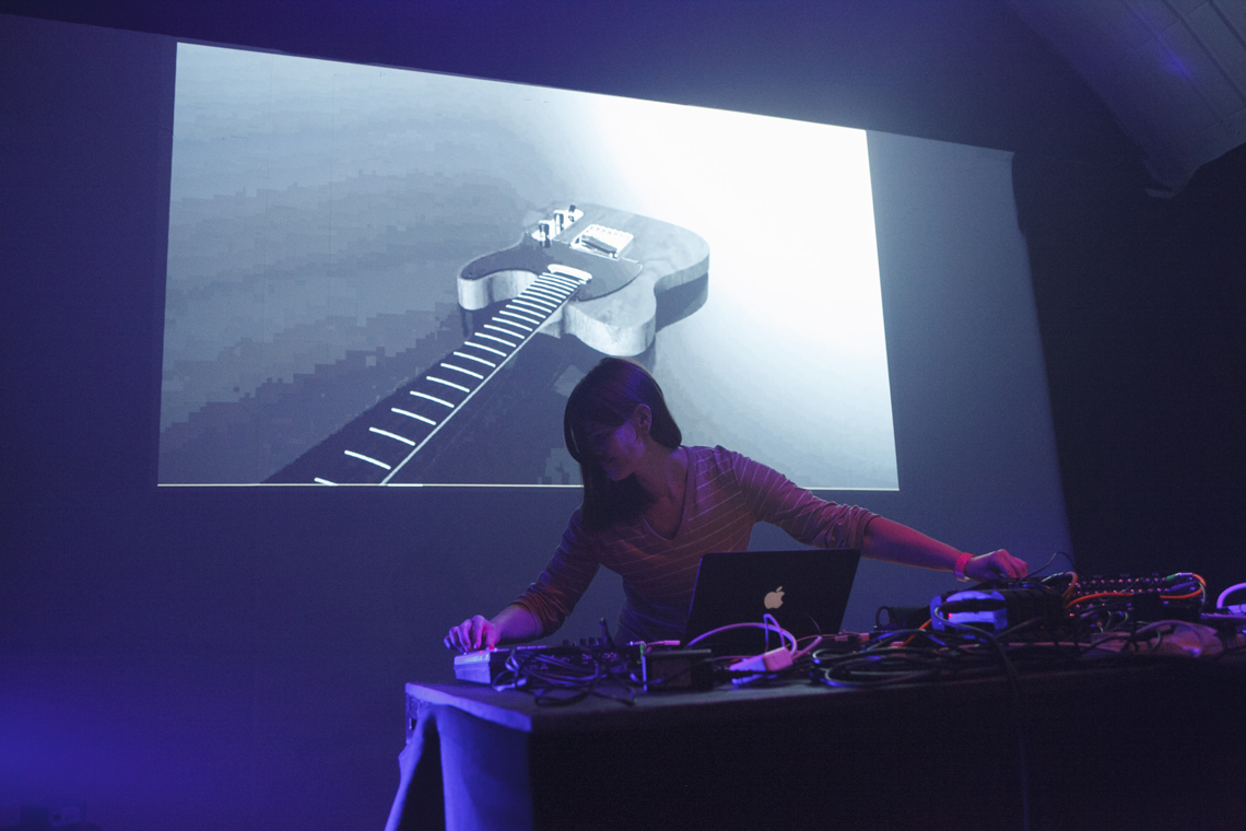 Nik Colk Void at Space-Time Festival (2014). Photo by Mike Cameron. Courtesy Wysing Arts Centre.